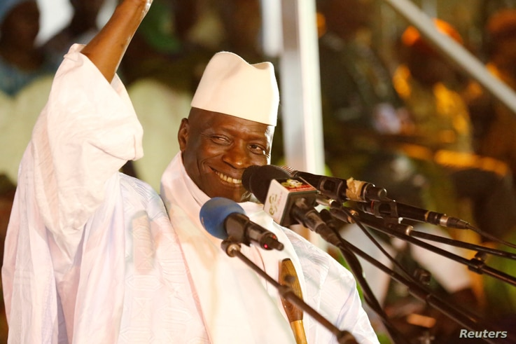 Gambia's President Yahya Jammeh, who is also a presidential candidate for the Alliance for Patriotic Re-orientation and Construction (APRC), smiles during a rally in Banjul, Gambia, Nov. 29, 2016.