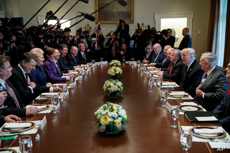 President Donald Trump speaks during a meeting with Baltic leaders in the Cabinet Room of the White House, April 3, 2018, in Washington.