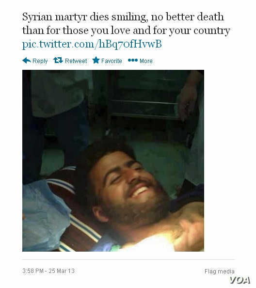 Jihadist groups regularly post onto Twitter photos of the dead posed as if smiling in an effort to glorify martyrdom.