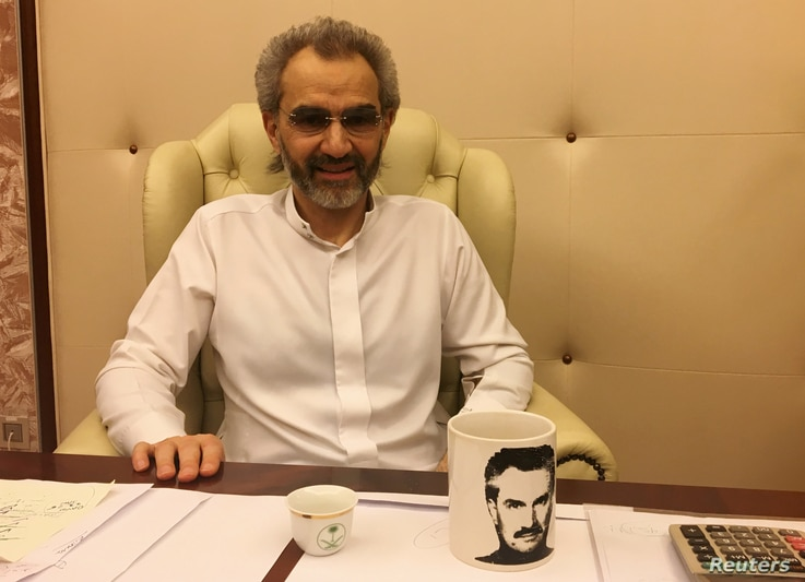 Saudi Arabian billionaire Prince Alwaleed bin Talal sits for an interview with Reuters in the office of the suite where he has been detained at the Ritz-Carlton in Riyadh, Saudi Arabia, Jan. 27, 2018.