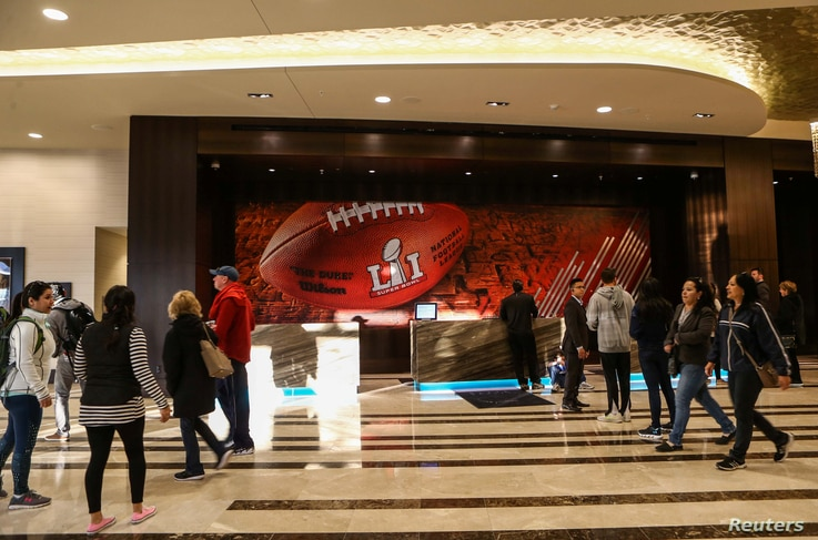 General view inside the lobby of the Marriott Marquis in downtown Houston prior to Super Bowl LI between the New England Patriots and the Atlanta Falcons in Houston, Texas, Jan. 28, 2017.  (Credit: Troy Taormina-USA TODAY Sports)