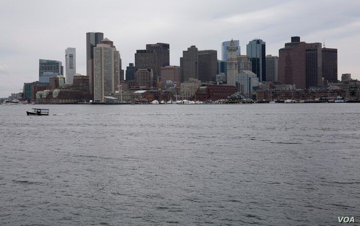 The downtown Boston skyline, as seen from East Boston.