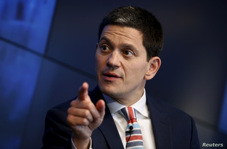 FILE - International Rescue Committee Chief Executive David Miliband speaks during a Reuters Newsmaker event in New York, May 29, 2015. The IRC said Feb. 7, 2018, that it would collaborate with computer giant Intel on a job training program for immig...