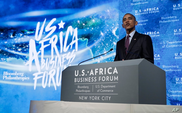 President Barack Obama speaks at the U.S.-Africa Business Forum at The Plaza Hotel in New York, Sept. 21, 2016.