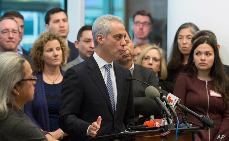 Chicago Mayor Rahm Emanuel speaks at a news conference Monday, Nov. 14, 2016, in Chicago. The former White House chief of staff under President Obama said the outcome of the U.S. presidential election will not impact Chicago's commitment as a sanctua...