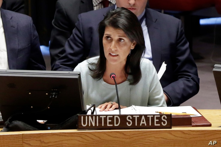 The new U.S. Ambassador to the U.N., Nikki Haley, addresses a Security Council meeting of the United Nations, Feb. 2, 2017.