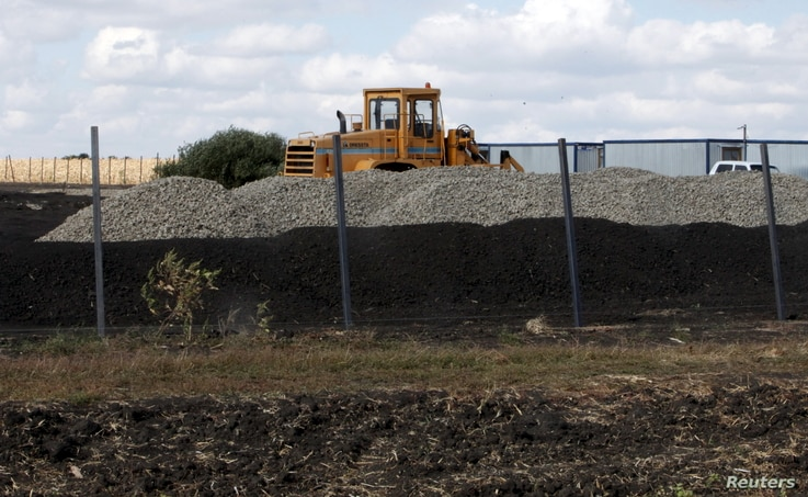 An excavator is seen at a construction site for Russia's new military base near the Russian-Ukrainian border in the village of Soloti, southeast of Belgorod, Russia, Sept. 7, 2015.