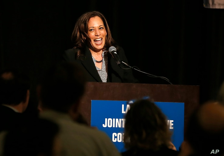 U.S. Sen. Kamala Harris, a candidate for the 2020 Democratic presidential nomination, addresses labor leaders at the California Labor Federal and State Building and Construction Trades Council Legislative Conference Dinner, April 1, 2019, in Sacramen...