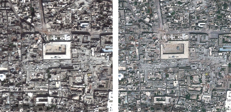 Composite satellite photo made available by Amnesty International on August 7, 2013, of the Great Mosque of Aleppo, Syria  (a UNESCO world heritage site), on March 1, 2013, left, compared to May 26, 2013, right.