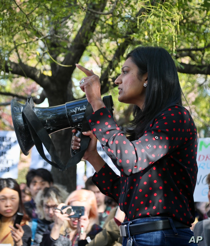Tanuja Gupta, programming director at Google, addresses hundreds of Google employees during a protest rally on Nov. 1, 2018, in New York.