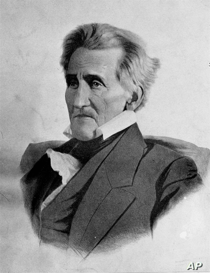 President Andrew Jackson, the seventh president of the United States, is shown in an undated portrait.