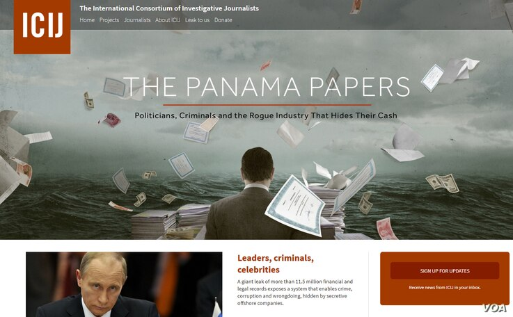 A screenshot of the Panama Papers Web site, April 3, 2016.