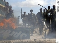 Kenyan troops in the midst of post-election violence on New Year's Day, 2008