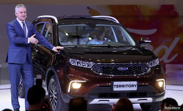 Lyle Watters, Vice President at Ford Motor Company and President of Ford South America, presents the Territory during the media day of the  Salao do Automovel Auto Show in Sao Paulo, Brazil, Nov. 6, 2018.