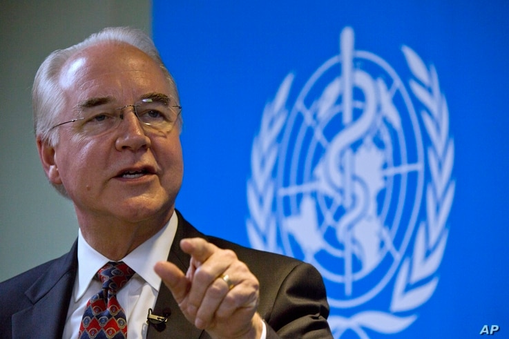 """U.S. Health and Human Services Secretary Tom Price speaks during an event titled """"The Next Pandemic"""" at the World Health Organization office in Beijing, Aug. 21, 2017."""