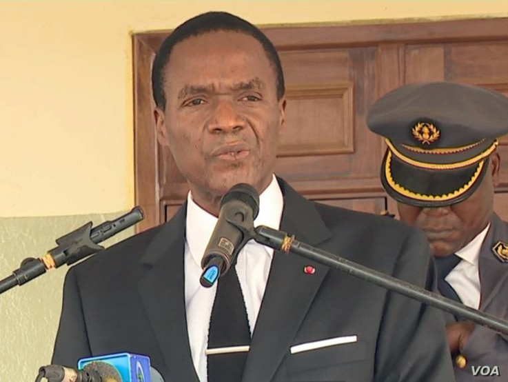 Cameroon Defense Minister Joseph Beti Assomo speaks at the defense headquarters in Yaounde, Jan. 21, 2019.