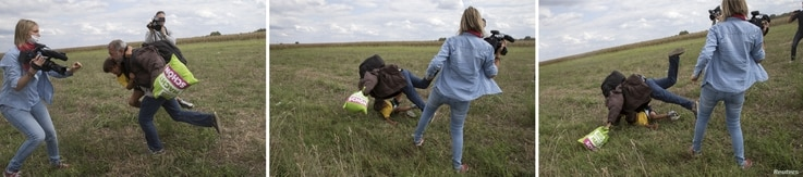 Combination picture (L to R) shows a migrant carrying a child tripping on TV camerawoman Petra Laszlo and falling while trying to escape from a collection point in Roszke village, Hungary, September 8, 2015. Laszlo, a camerawoman for a private televi...