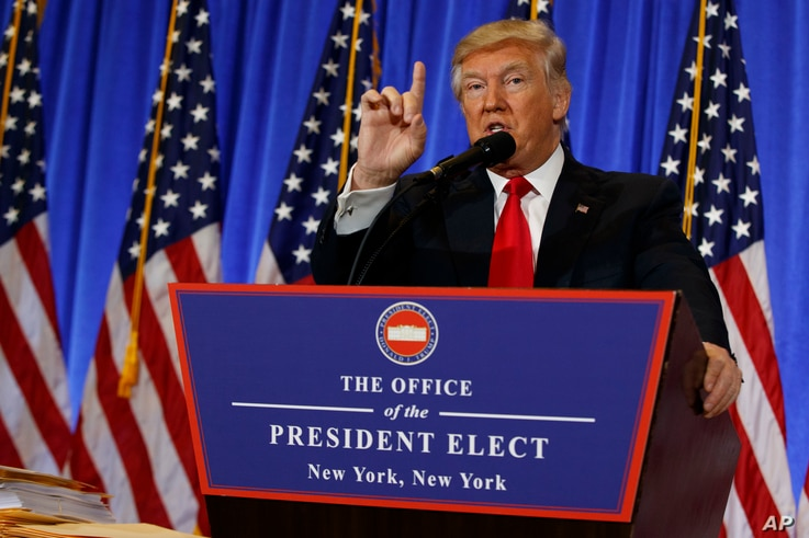 President-elect Donald Trump speaks during a news conference in the lobby of Trump Tower in New York, Jan. 11, 2017.