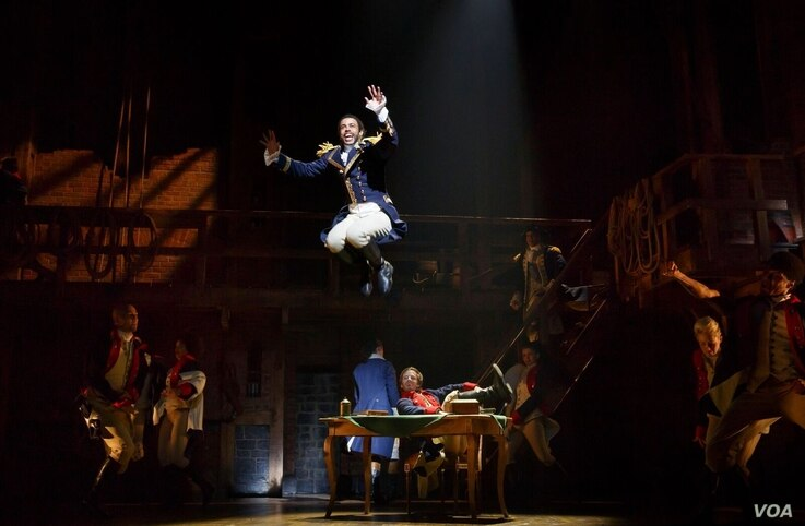 """Daveed Diggs performs in a scene from """"Hamilton."""""""
