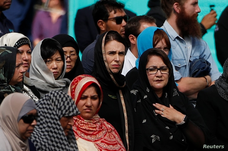 New Zealand's Prime Minister Jacinda Ardern attends the Friday prayers at Hagley Park outside al-Noor mosque in Christchurch, New Zealand, March 22, 2019.