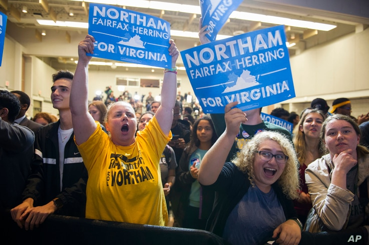 Supporters celebrate news that Democrat Ralph Northam won the gubernatorial election, at the Northam for Governor election night party at George Mason University in Fairfax, Va., Nov. 7, 2017.