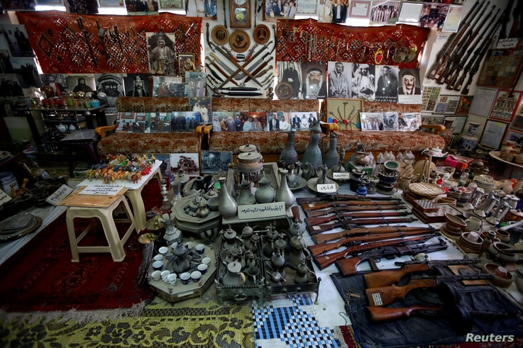 General view of the old rare antiques and weapons in the museum of Youssef Akkar, 80, an Iraqi retired teacher, at his home in Najaf, Iraq, Feb. 18, 2019.