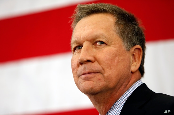 Gov. John Kasich, R-Ohio, speaks at the Republican Leadership Summit Saturday, April 18, 2015, in Nashua, New Hampshire.