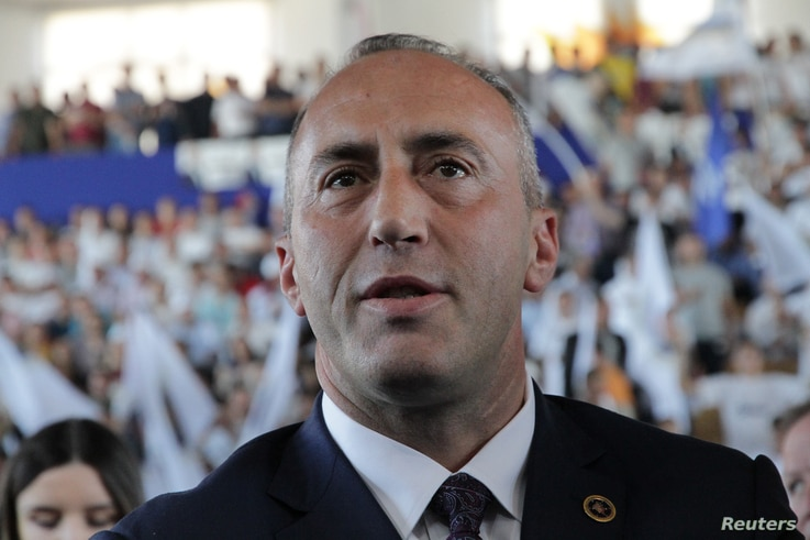 Ramush Haradinaj, a candidate for prime minister, of the coalition of the former Kosovo Liberation Army (KLA) commanders AAK, PDK and NISMA, attends an election rally in Pristina, Kosovo, June 9, 2017.