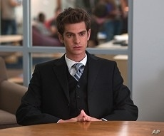 """Andrew Garfield in Columbia Pictures' """"The Social Network,"""" also starring Jesse Eisenberg and Justin Timberlake."""
