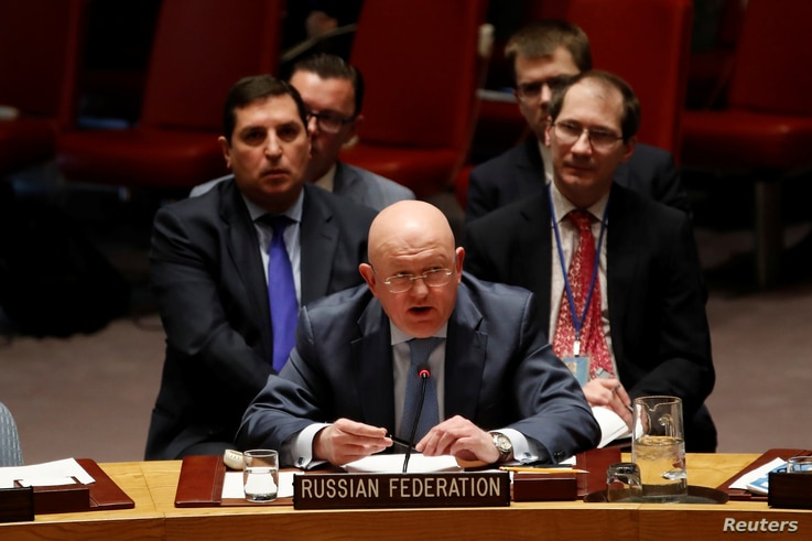 Russian Ambassador to the United Nations Vassily Nebenzia addresses the U.N. Security Council on Syria during a meeting of the Council at U.N. headquarters in New York, March 12, 2018.