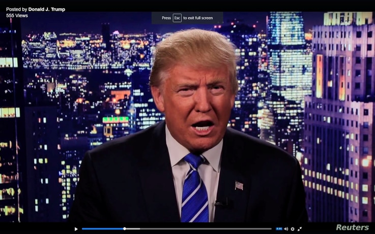 Republican U.S. presidential nominee Donald Trump is seen in a video screengrab as he apologizes for lewd comments he made about women during a statement recorded by his presidential campaign and released via social media after midnight Oct. 8, 2016....