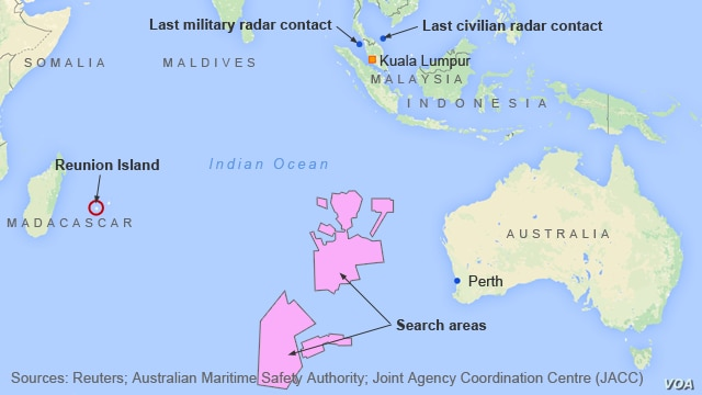 Search sites for MH370, and Reunion Island, where wreckage was found