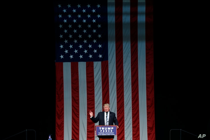 Republican presidential candidate Donald Trump speaks during a campaign rally at Sacred Heart University, Aug. 13, 2016.