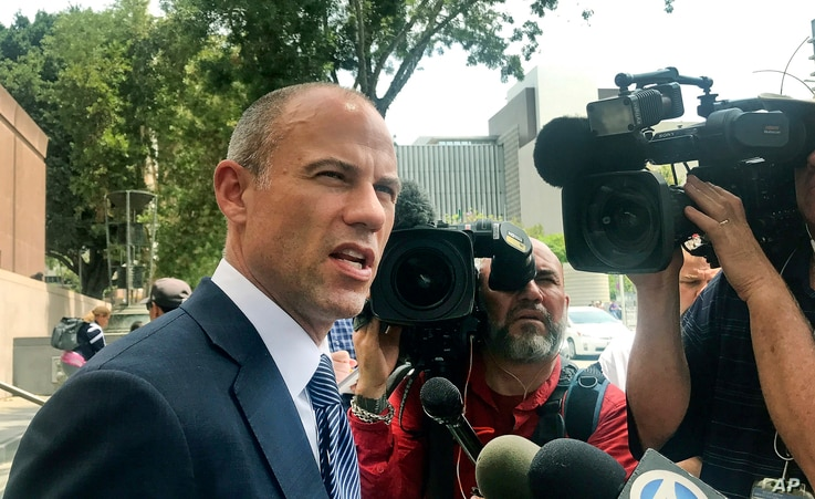Adult actress Stormy Daniels' lawyer Michael Avenatti talks to the media outside of Los Angeles County Superior Court after a hearing in Los Angeles, July 10, 2018.