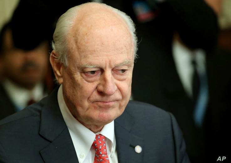United Nations Special Envoy for Syria Staffan de Mistura attends a meeting on forming a constitutional committee in Syria at the European headquarters of the United Nations in Geneva, Switzerland, Dec. 18, 2018.
