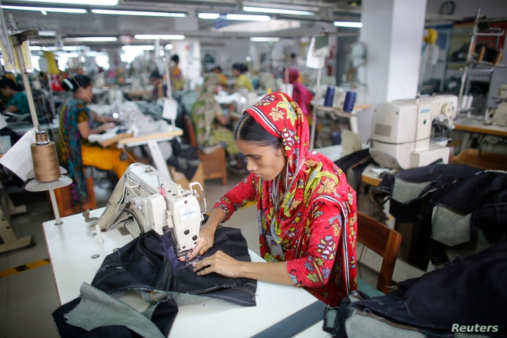 FILE - A worker is seen in a garment factory in Savar, Bangladesh.