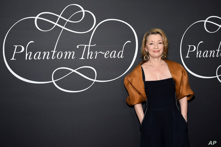 """Actress Lesley Manville attends the premiere party for """"Phantom Thread"""" at Harold Pratt House in New York, Dec. 11, 2017."""