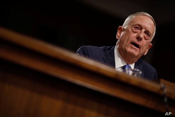 U.S. Secretary of Defense James Mattis testifies before a Senate Armed Services Committee hearing on Capitol Hill, in Washington, Oct. 3, 2017.