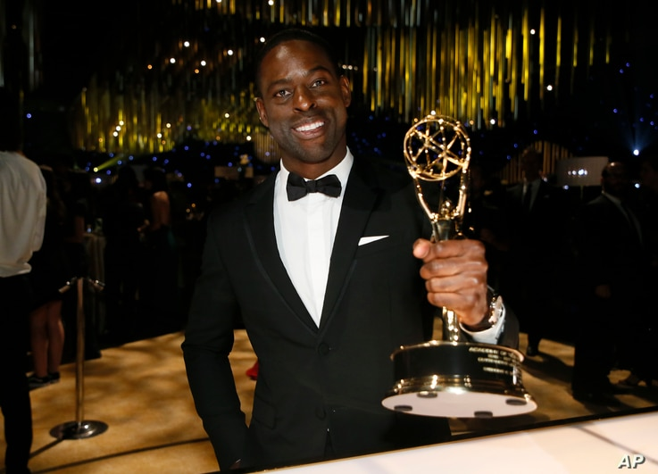 "Sterling K. Brown with the award for outstanding lead actor in a drama series for ""This Is Us"" attends the Governors Ball for the 69th Primetime Emmy Awards at the Los Angeles Convention Center, Sept. 17, 2017"