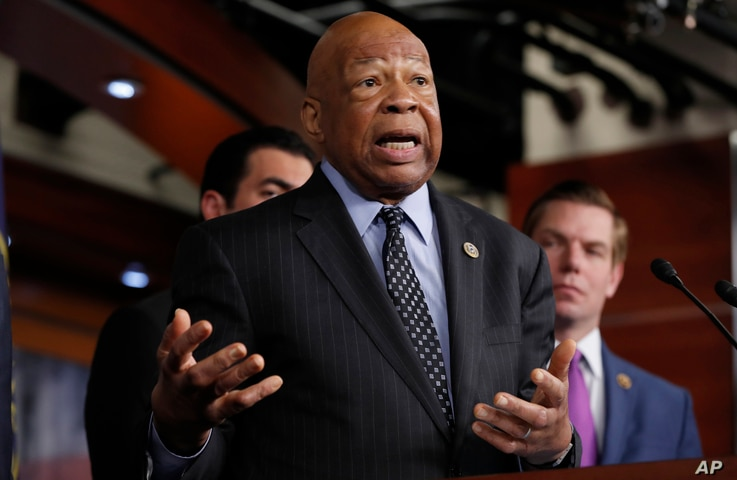 Rep. Elijah Cummings, D-Md., ranking member on the House Oversight and Government Reform Committee, speaks during a news conference on Capitol Hill in Washington, May 17, 2017.