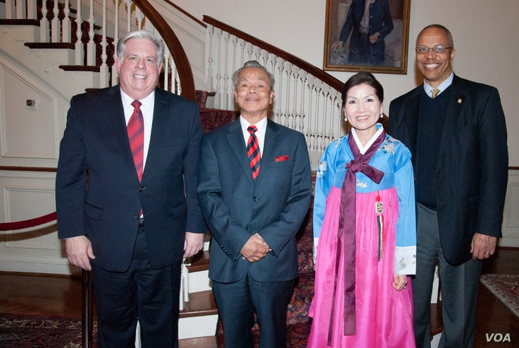 From the left to right: Maryland governor Larry Hogan, Tun Sovan, and Yumi Hogan, wife of Larry Hogan. This photo was taken in 2015 at the Maryland Residence. (Photo courtesy of Tun Sovan)