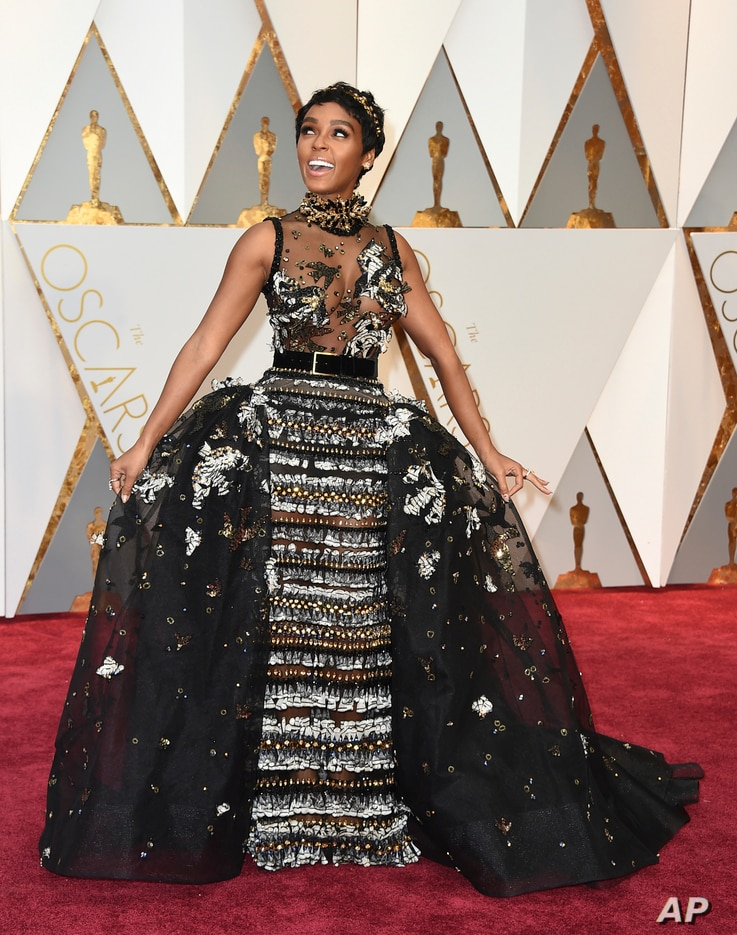 Janelle Monae arrives at the Oscars on Feb. 26, 2017, at the Dolby Theatre in Los Angeles.