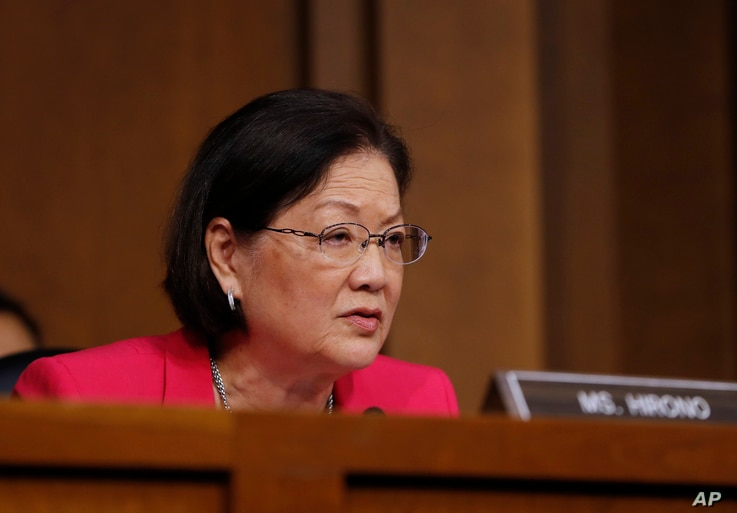 FILE - Senate Judiciary Committee member Sen. Mazie Hirono, D-Hawaii, speaks on Capitol Hill in Washington, March 20, 2017.