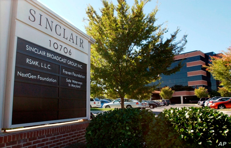 FILE - Sinclair Broadcast Group, Inc.'s headquarters stands in Hunt Valley, Md.