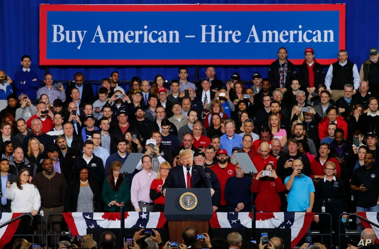 President Donald Trump speaks at the American Center for Mobility in Ypsilanti Township, Michigan, March 15, 2017.