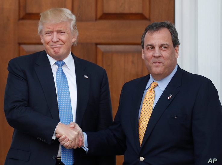 President-elect Donald Trump, left, and New Jersey Gov. Chris Christie shake hands at the Trump National Golf Club Bedminster clubhouse, Nov. 20, 2016, in Bedminster, N.J.