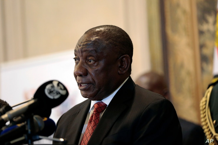 FILE - South Africa's President Cyril Ramaphosa.