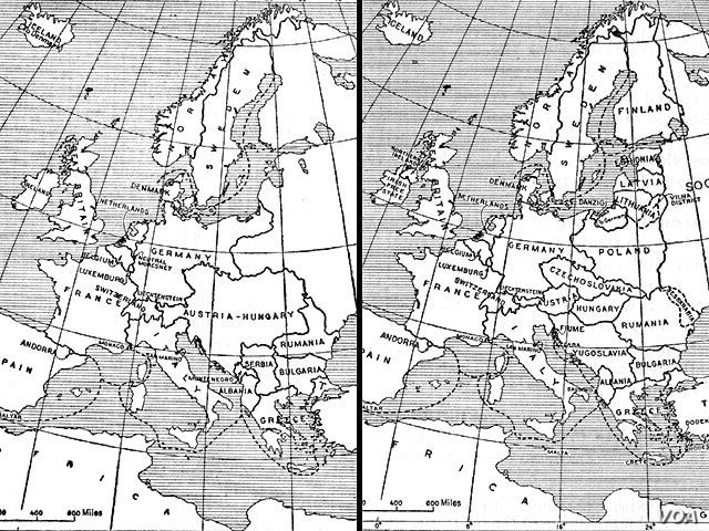 Map: Europe in 1914 (left) and in 1924 (right)