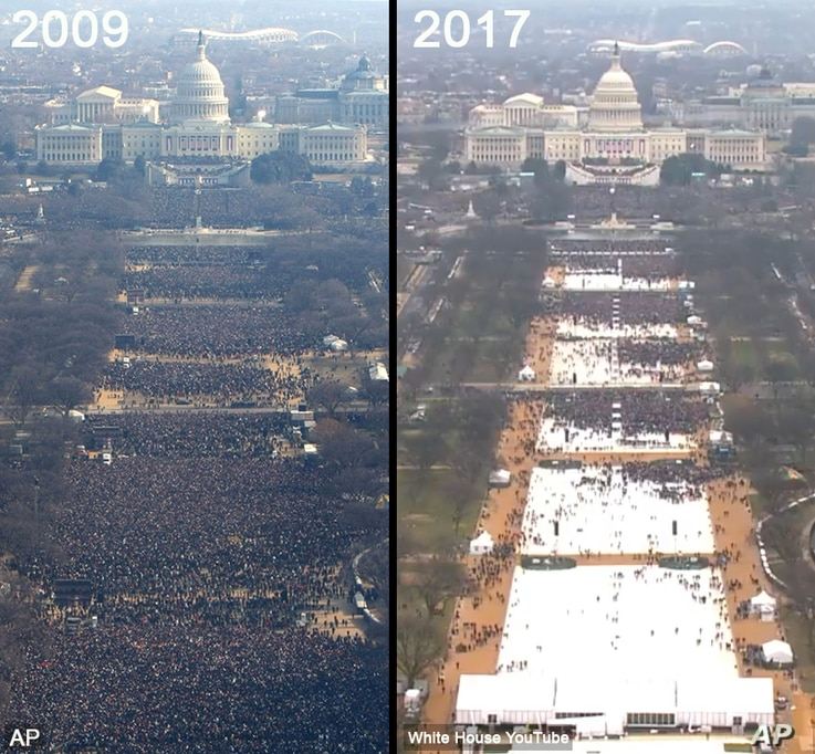 An AP photo of the Barack Obama's inauguration in 2009 and a screen grab from the White House YouTube livestream of Donald Trump's 2017 inauguration appear to show a large difference in the number of inaugural attendees.