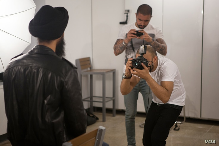 Amit and Naroop, the London photographers of the Sikh Project, during their shoot with the famous actor and model Waris Ahluwalia.